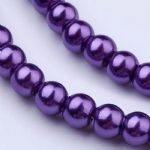 Glass Pearl Beads Medium Purple 6mm